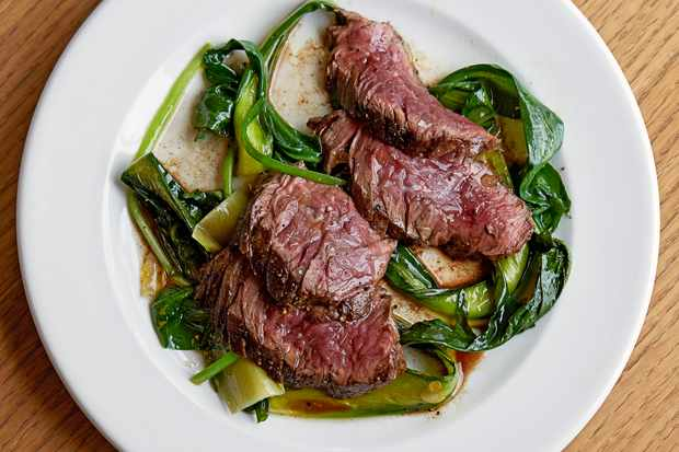 Hanger Steak Recipe with Braised Greens
