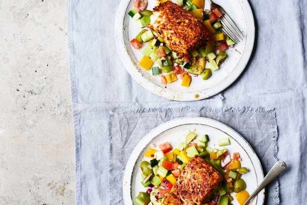 Chilli Salmon Recipe with Chopped Salad