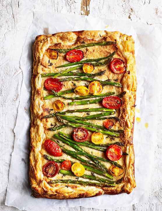 Asparagus Frangipane Tart Recipe with Cherry Tomatoes
