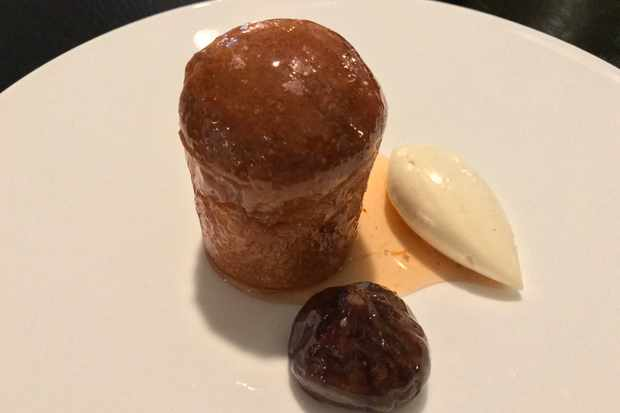 Rum baba with mascarpone and figs
