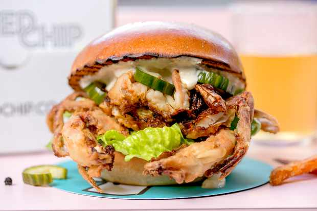 United Chip, soft shell crab burger in a bricohe bun