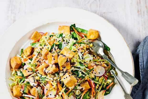 Smoked Tofu Salad Recipe with Sesame Dressing and Veg