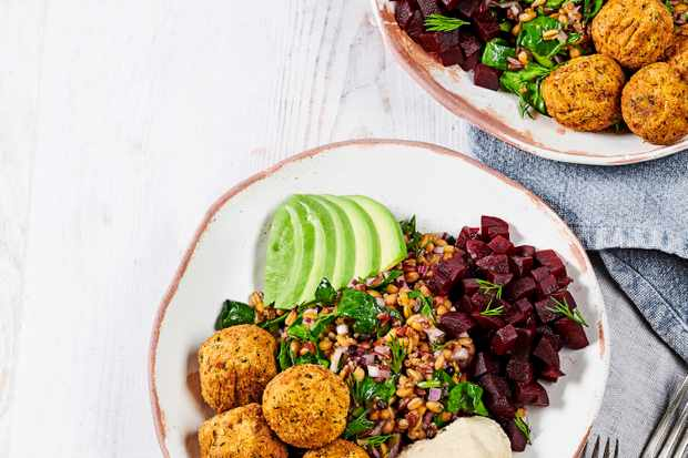 Falafel and Hummus Bowl with Beetroot Recipe