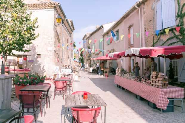 Central square at Village Castigno with market stalls