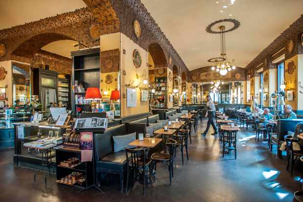 A general interior view of the historical Caffe San Marco.