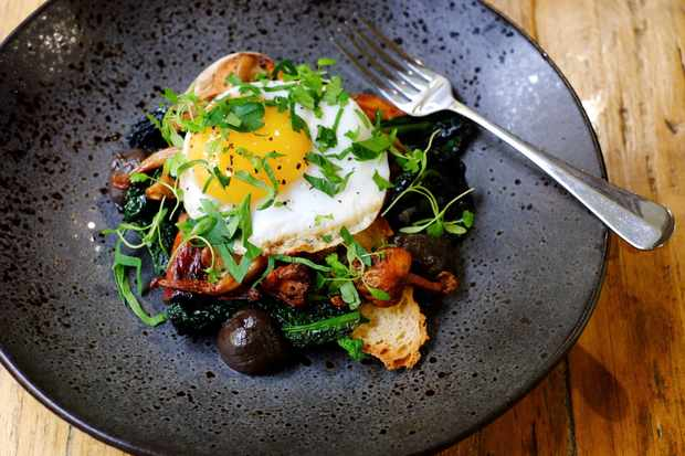 Wild mushrooms with duck egg on sourdough at Mannion and co
