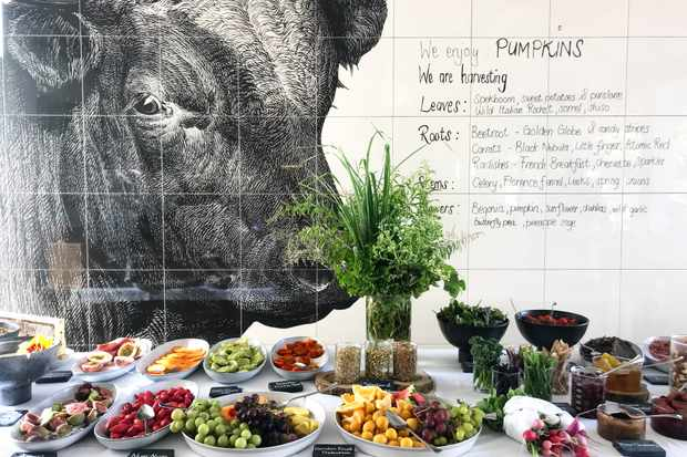 Breakfast laid out on big table infront of a white tiled wall with an illustration of a cow's head on it