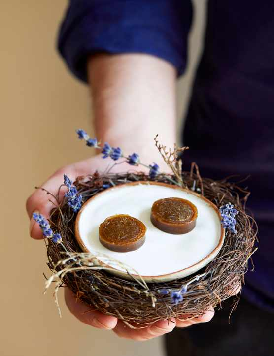 Homemade toffee Recipe with Juniper Berries. Two toffees served on a mini off-white plate in a nest made-up of woody sticks and lavender, sitting on a persons hand