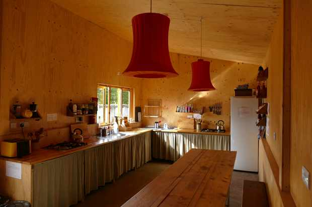 The kitchen area in The Pig Shed at One Cat Farm, Wales