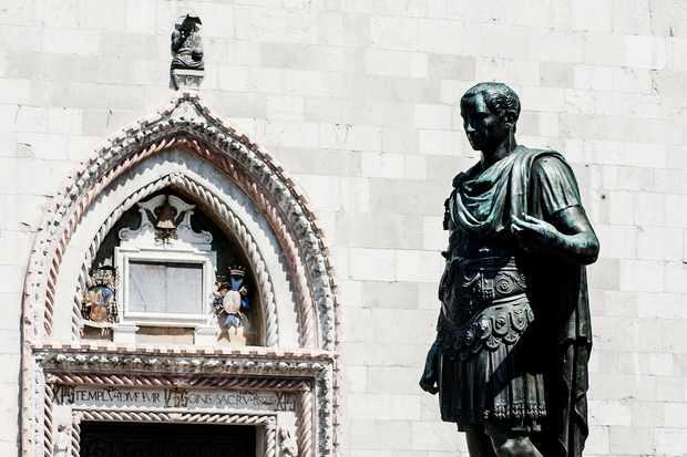 Monumento a Giulio Cesare in the town of Cividale Del Friuli