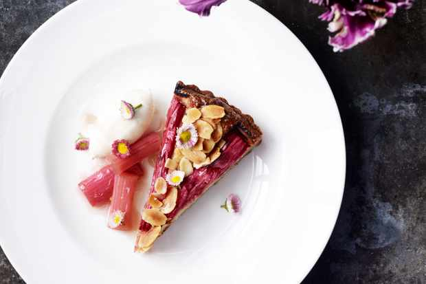 Rhubarb tart with flaked almonds at The Petersham