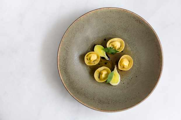 A shallow bowl of Smoked Chicken Tortellini cooked in truffle butter at Stem, London