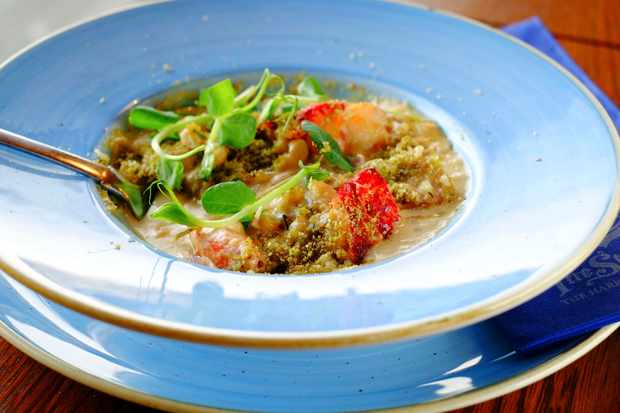 Lobster cassoulet with a lovage herb crust at The Star Inn, the harbour