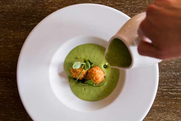A shallow white bowl is filled with two croquettes sitting in a green sauce. A hand is holding a jug and pouring sauce into the bowl