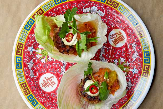 Pork Mince Burgers with Coconut Relish
