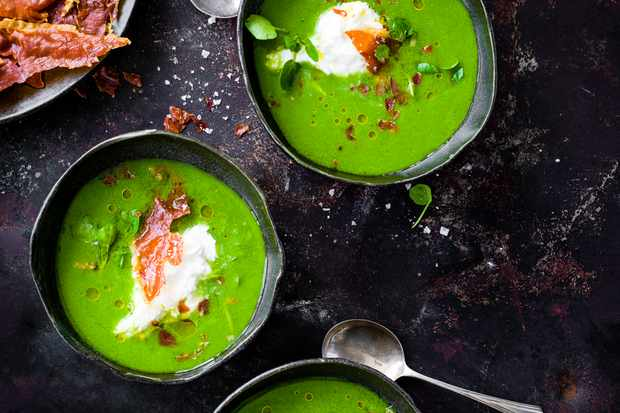 Green Gazpacho Recipe with Burrata and Prosciutto