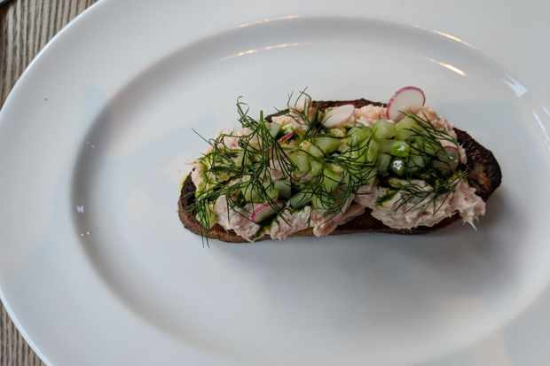 Salmon rillettes on toasted sourdough topped with dill and cucumber at the Duncombe Arms