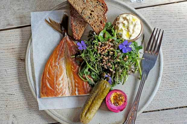Smoked mackerel, bread and a salad on a grey plate