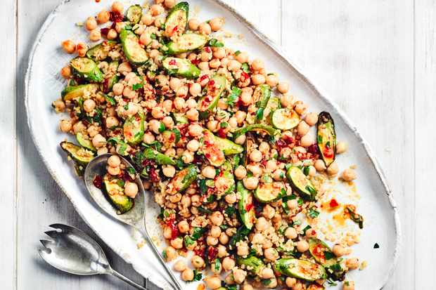 Roast Courgette Salad Recipe with Chickpeas