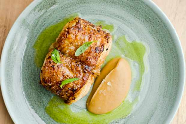 Roast monkfish, spiced aubergine, basil and ginger dressing. Photo credit Cedar film