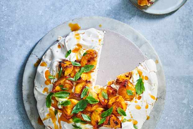 Peach Pavlova Recipe with Mascarpone Cream