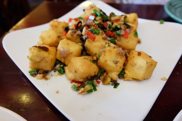 Deep-fried crispy tofu with chilli