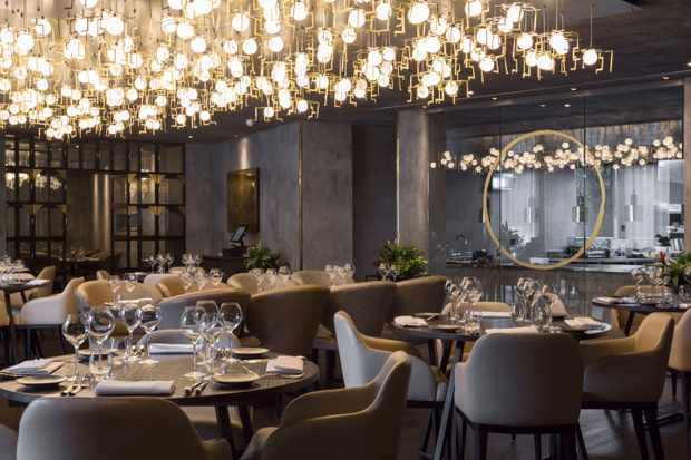 The glamorous dining room at Opheem