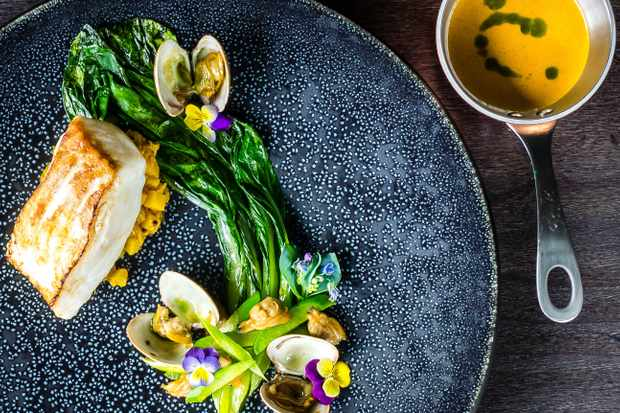 One the delicious mains - Allepy (cornish turbot, Keralan sabji, wilted choi sum, clams, tempered Keralan coconut milk and raw mango)