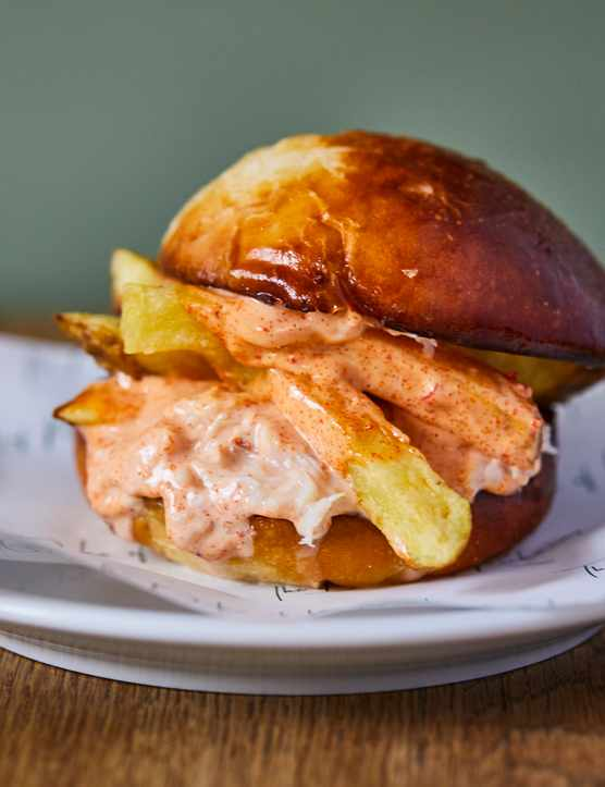 Crab and chips brioche burger at Duke of Richmond.
