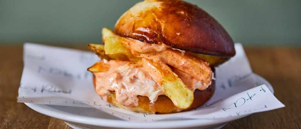 Crab and chips brioche burger at Duke of Richmond.