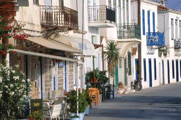Exterior of balconied houses in Spetses, Peloponnese, Greece