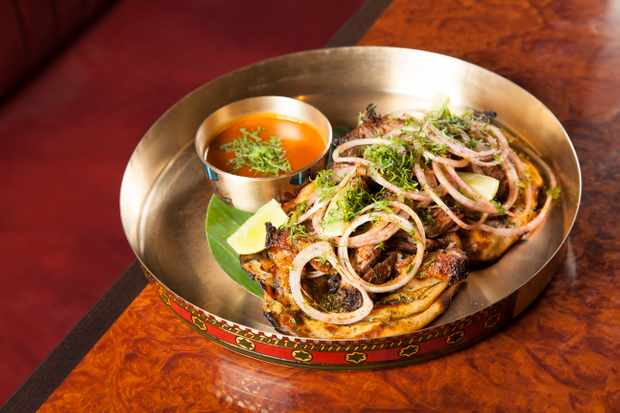 Goat shoulder on parathas at Brigadiers