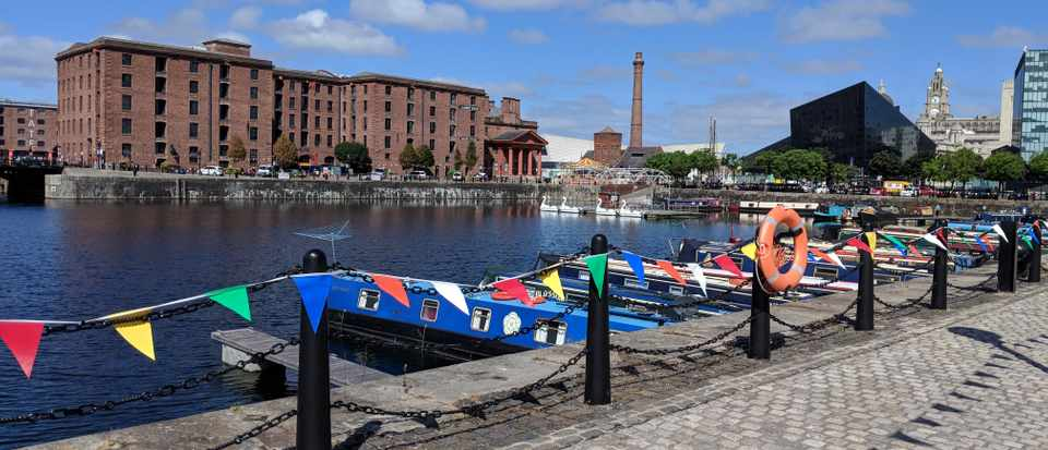 Liverpool's Albert Dock with bunting strung against the railings