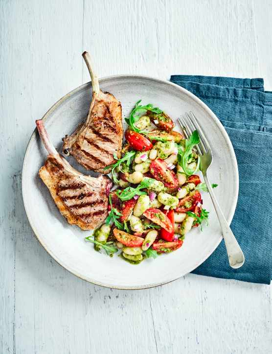 Lamb Cutlets Recipe with Pesto and Beans