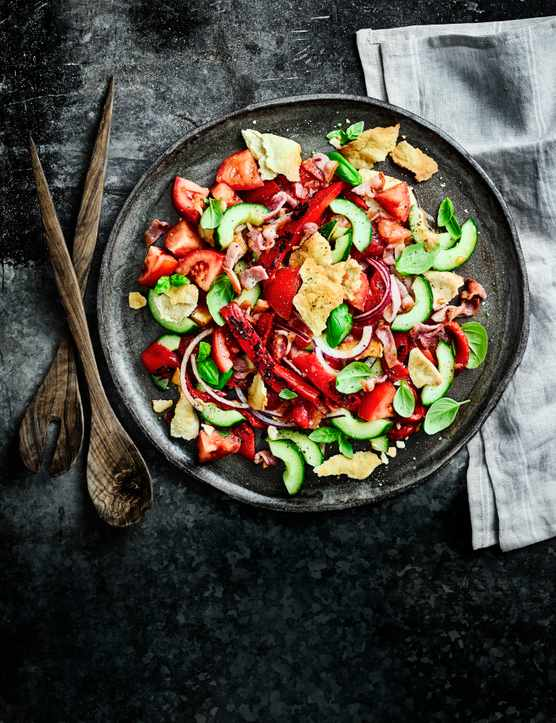 Panzanella Salad Recipe with Bacon