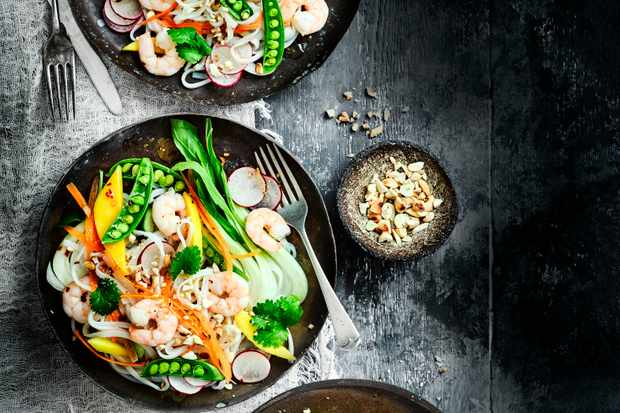 Prawn Rice Noodle Salad Recipe with Mango