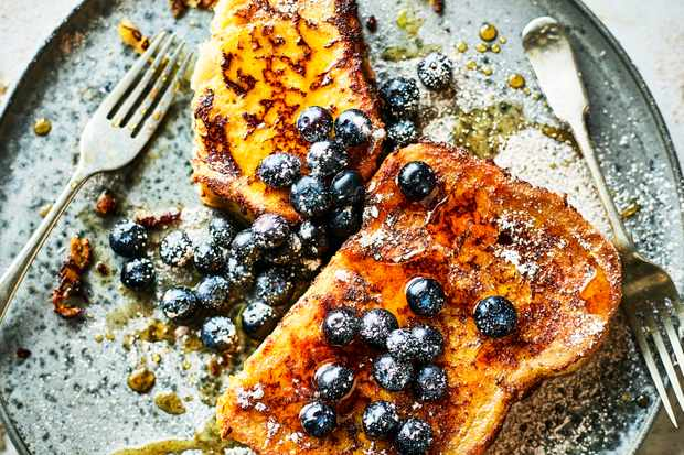French Toast Recipe with Sweetcorn and Blueberries