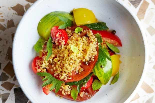 Heritage Tomato Salad Recipe with Pangritata