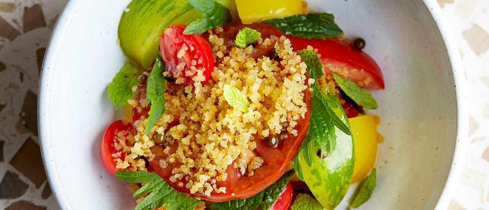 Heritage Tomato Salad Recipe with Pangritata