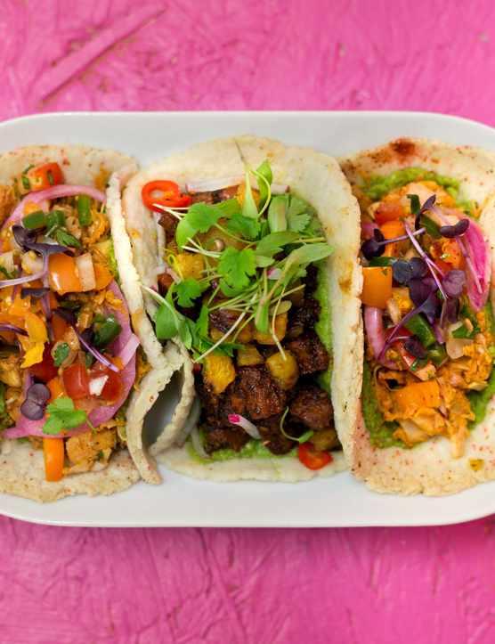 Club Mexicana vegan tacos selection of three