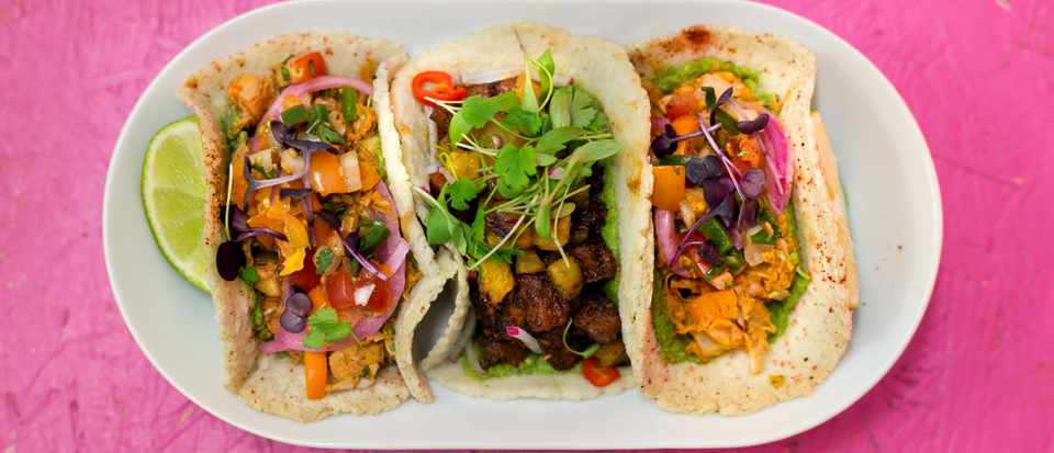 Club Mexicana vegan tacos selection of three
