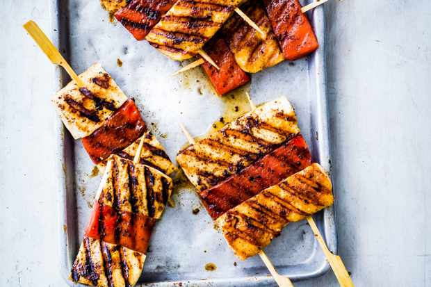 Halloumi Skewers Recipe with Watermelon