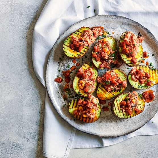Grilled Avocado Recipe with Crab and Chorizo