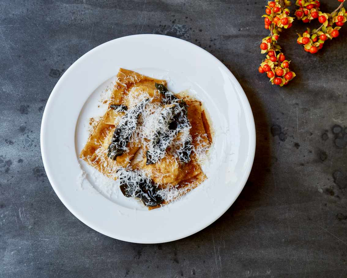 A plate of pumpkin ravioli with sage butter at Jolene, Newington Green