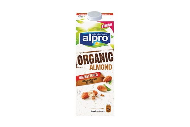 A white carton of Alpro organic almond milk