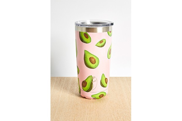 A pale pink travel tumbler bottle covered in avocados