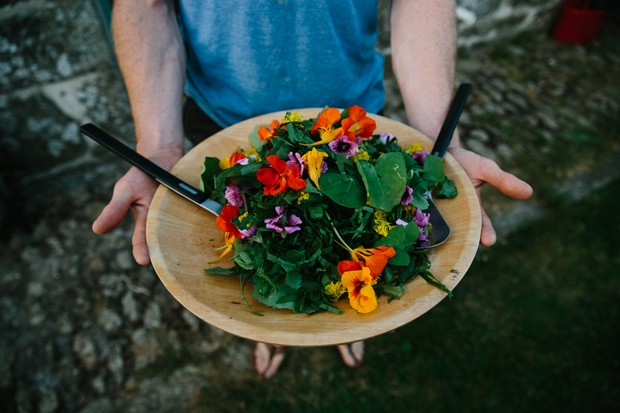 Foraged flowers at the Fat Hen, Cornwall