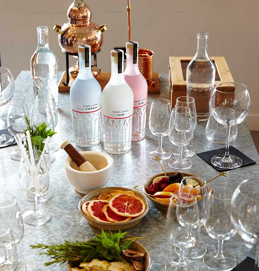 Bottles of gin, empty glasses and slices of grapefruit on a table