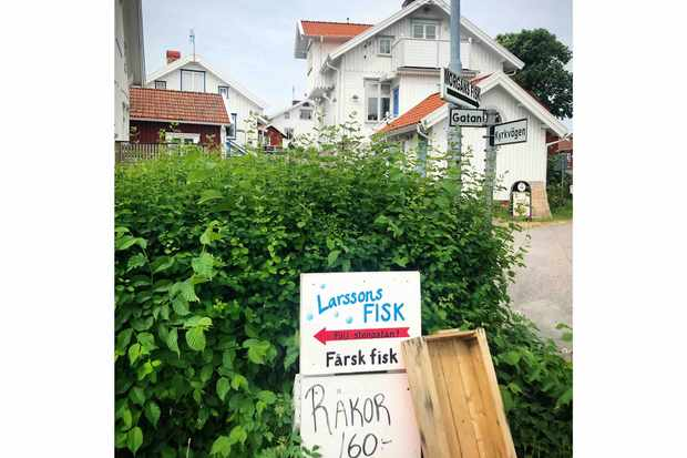 The sign to Larsson's fish shop in Mollosund Sweden