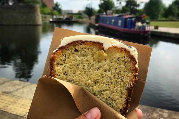 Lemon cake from Pollen Bakery Manchester by New Islington canal